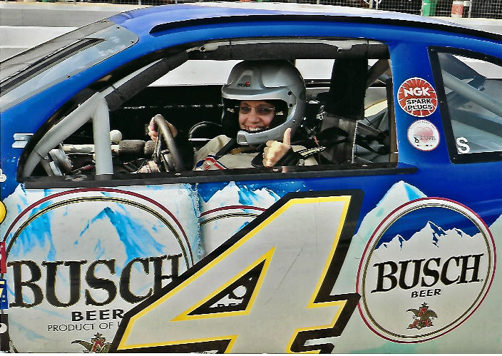 Me driving a Richard Petty race car at the Nascar track in Louden, New Hampshire Sept 2017